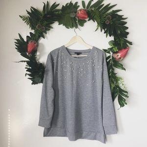 lane bryant gray pearl beaded sweater size 14/16